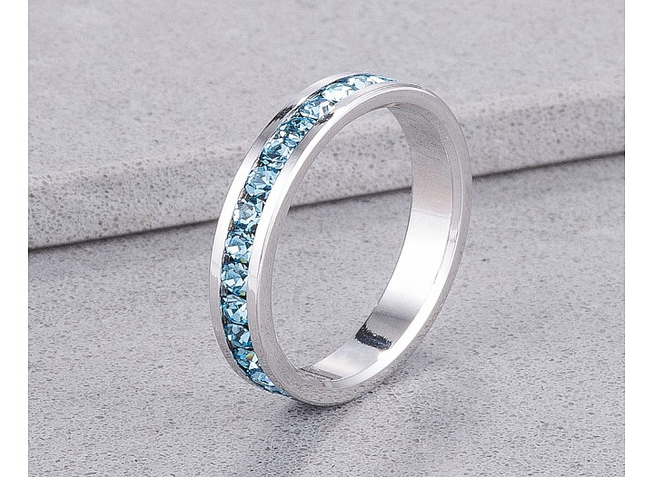 Sparkly Stackable Light Blue Crystal Eternity Band